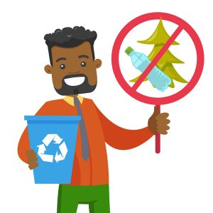 Young african-american man holding recycling bin and do not littering in park placard. Waste recycling and take care of clean nature concept.