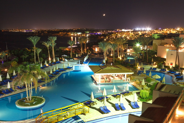 red sea egypt hotel at night