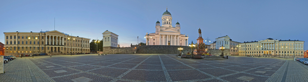 Senate Square in Helsinki. Stitched Panorama