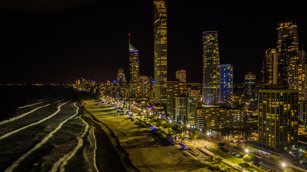 The Gold Coast Strip at Night